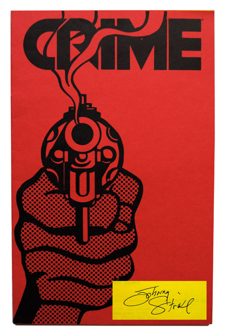 CRIME - ORIGINAL PROGRAM & SONGBOOK, SIGNED BY JOHNNY STRIKE. lyrics, setlist, CRIME, Roy Lichtenstein, cover art.