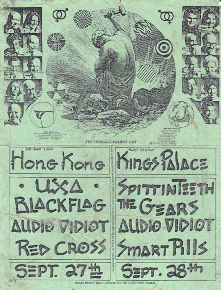 ORIGINAL BLACK FLAG SHOW FLYER - SEPTEMBER 27, 1979 AT THE HONG KONG CAFE