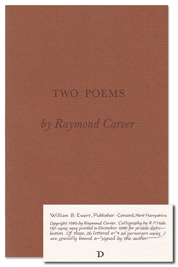 TWO POEMS - LETTERED COPY, SIGNED. Raymond Carver.