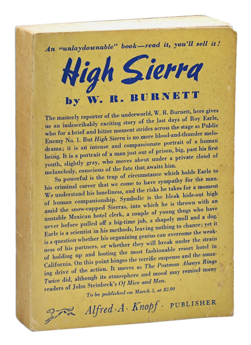 HIGH SIERRA - ADVANCE COPY. W. R. Burnett.