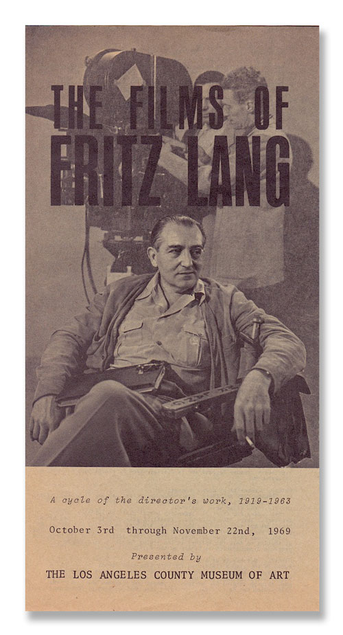 THE FILMS OF FRITZ LANG: A CYCLE OF THE DIRECTOR'S WORK, 1919-1963. introduction, text, Fritz Lang, Philip Chamberlin, films.