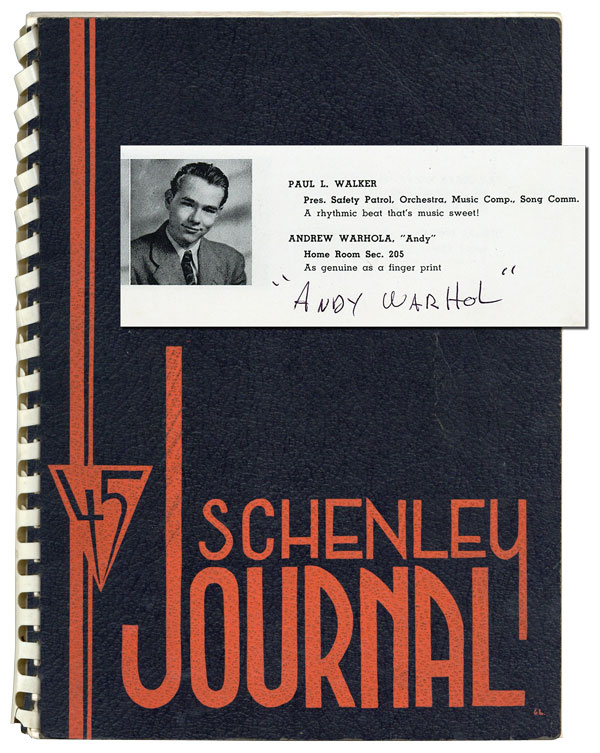 THE SCHENLEY JOURNAL 1945 - SIGNED BY ANDY WARHOL, WITH AN ORIGINAL SIGNED COMPOSITION