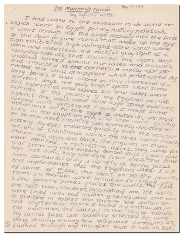 THE MUMMY'S TOMB - AUTOGRAPH MANUSCRIPT. Sylvia Plath.