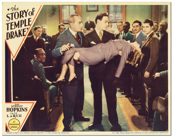 THE STORY OF TEMPLE DRAKE - ORIGINAL LOBBY CARD. William Faulkner, Stephen Roberts, novel, director.