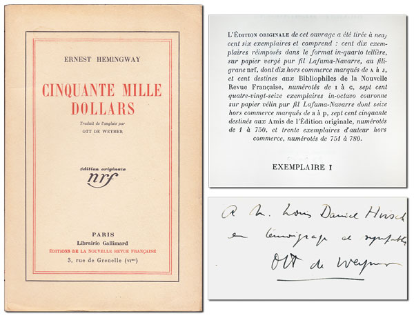 CINQUANTE MILLE DOLLARS (FIFTY GRAND) - COPY NO.1. Ernest Hemingway, Ott de Weymer, stories, translation, pseud. of Georges Duplaix.