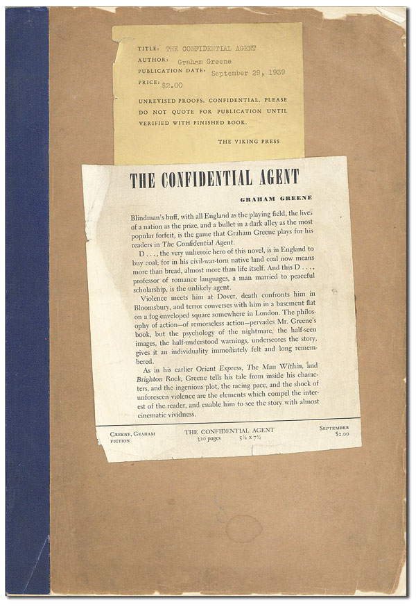 THE CONFIDENTIAL AGENT - UNCORRECTED PROOF COPY. Graham Greene.