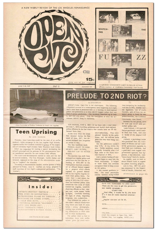 """""""NOTES OF A DIRTY OLD MAN"""" [IN] OPEN CITY - ISSUE 6 (JUNE 9-16, 1967). Charles Bukowski, John Bryan, contributor."""