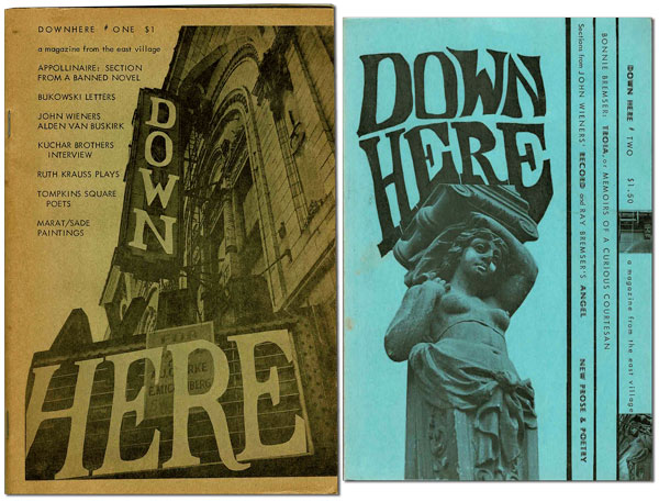 DOWN HERE: A MAGAZINE FROM THE EAST VILLAGE - VOL.1, NOS.1-2 [COMPLETE RUN]. Michael Perkins, Charles Bukowski, contributor.