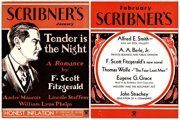 TENDER IS THE NIGHT [IN] SCRIBNER'S MAGAZINE (VOL.XCV. NOS.1-4, JANUARY-APRIL, 1934). F. Scott Fitzgerald, Edward Shenton, novel, illustrations.