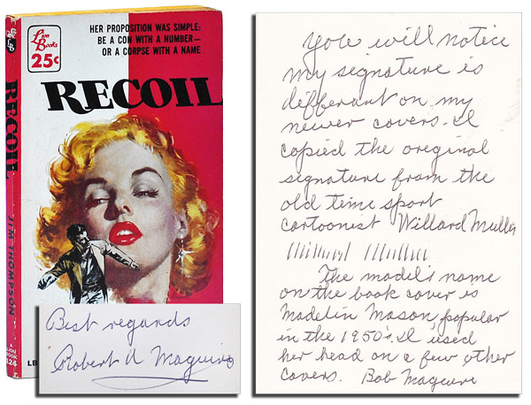 RECOIL - INSCRIBED BY COVER ARTIST ROBERT A. MAGUIRE. Jim Thompson.