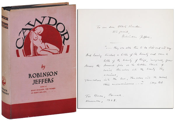 CAWDOR AND OTHER POEMS - INSCRIBED TO ALBERT BENDER. Robinson Jeffers.