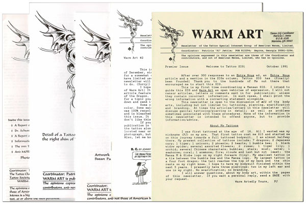 WARM ART: NEWSLETTER OF THE TATTOO SPECIAL INTEREST GROUP OF AMERICAN MENSA, LIMITED - NOS.1-5, WITH A THREE-PAGE TLS. Patricia C. Jettie.