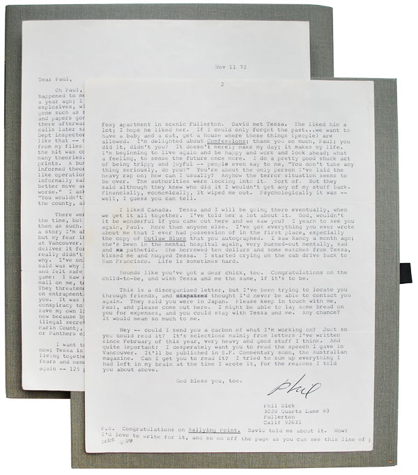 TWO-PAGE TYPED LETTER, SIGNED, TO LITERARY EXECUTOR PAUL WILLIAMS. Philip K. Dick.