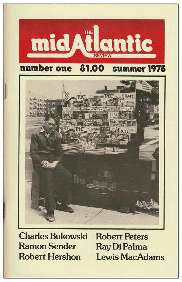"""THE MIDATLANTIC REVIEW - VOL.1, NO.1 (SUMMER 1975) - SIGNED [TOGETHER WITH] CORRECTED TYPESCRIPT FOR """"BIG MAX"""" Charles Bukowski, Stephen Baily, Gualterio Blanco, Billy Collins, contributor."""