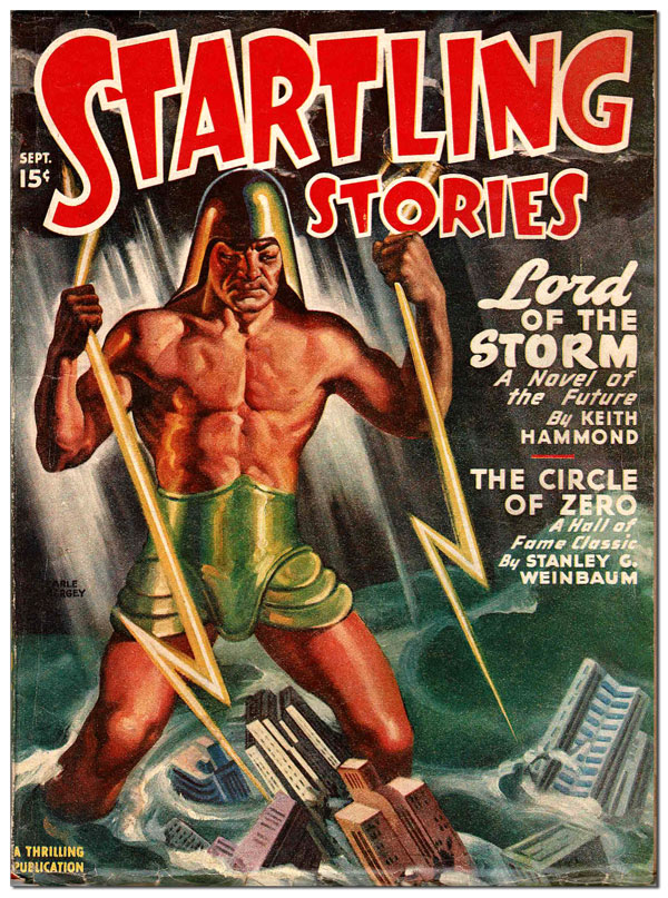 STARTLING STORIES - VOL.16, NO.1 (SEPTEMBER, 1947). Earle Bergey, cover art.