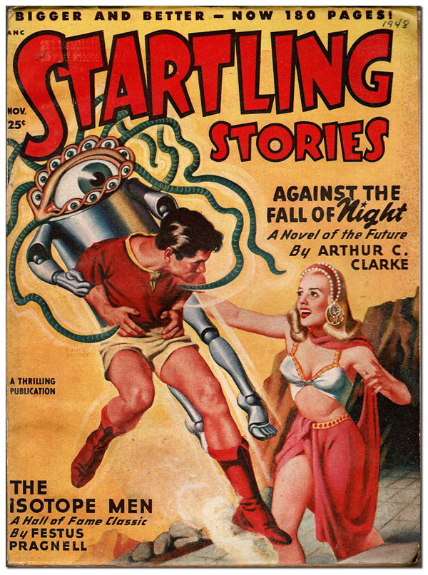 STARTLING STORIES - VOL.18, NO.2 (NOVEMBER, 1948). Earle Bergey, Ray Bradbury, John D. MacDonald, Arthur C. Clarke, cover art, contributors.
