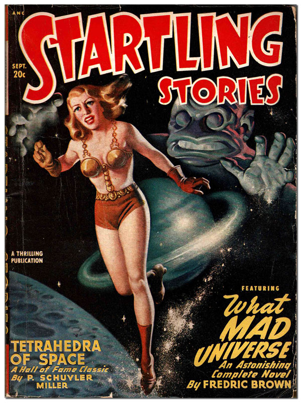 STARTLING STORIES - VOL.18, NO.1 (SEPTEMBER, 1948). Earle Bergey, Fredric Brown, Jack Vance, John D. MacDonald, cover art, contributors.