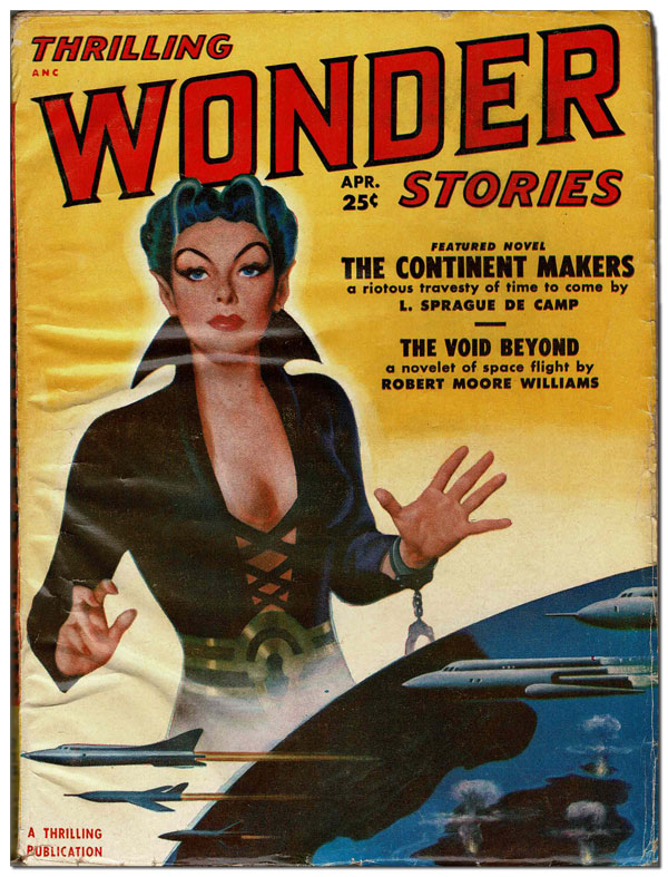 THRILLING WONDER STORIES - VOL.XXXVIII, NO.1 (APRIL, 1951). L. Sprague de Camp, Robert Moore Williams, Carter Sprague, contributors.