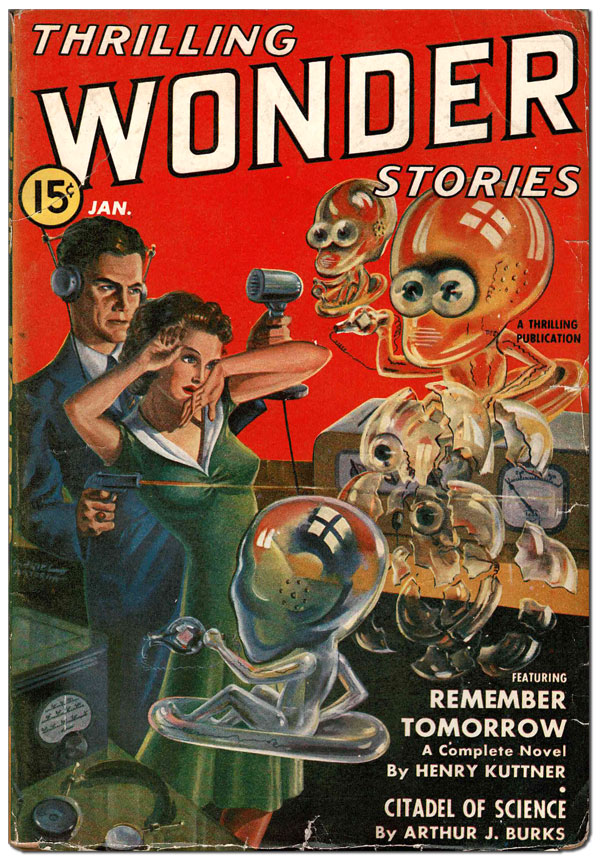 THRILLING WONDER STORIES - VOL.XIX, NO. (JANUARY, 1941). Gabriel Mayorga, Alfred Bester, cover art.