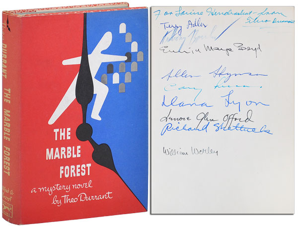 THE MARBLE FOREST - SIGNED BY 10 CONTRIBUTORS, WITH TYPED POSTCARD SIGNED BY BOUCHER. Theo Durrant, pseud. of Anthony Boucher.
