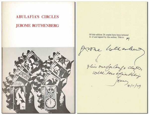 ABULAFIA'S CIRCLES - DELUXE ISSUE, INSCRIBED TO CLAYTON ESHLEMAN. Jerome Rothenberg, Wallace Berman, poems, cover art.