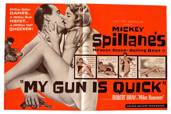 MY GUN IS QUICK - ORIGINAL FILM PRESSBOOK. Mickey Spillane, Phil Victor, George White, Richard Powell, novel, directors, Screenplay.