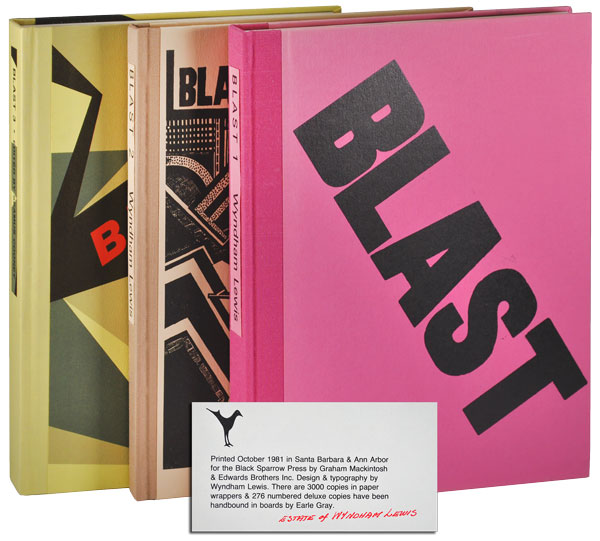 BLAST - NOS.1-3 [DELUXE ISSUE, FROM THE ESTATE OF WYNDHAM LEWIS]. Wyndham Lewis, Seamus Cooney.