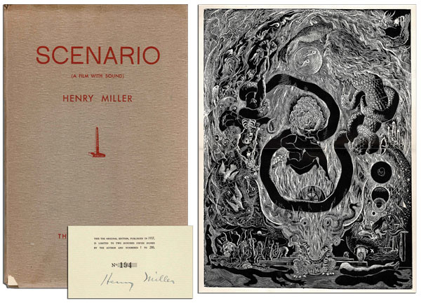 SCENARIO (A FILM WITH SOUND) - SIGNED. Henry Miller, Abraham Rattner, text, frontispiece.