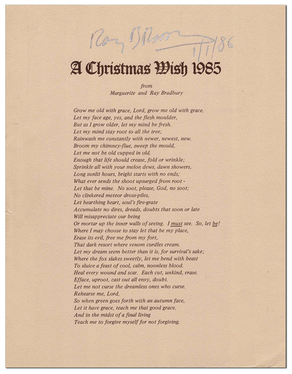 A CHRISTMAS WISH 1985 FROM MARGUERITE AND RAY BRADBURY - SIGNED. Ray Bradbury.