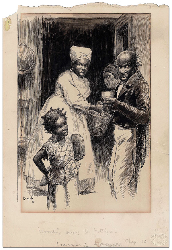 """HARVESTING AMONG THE KITCHENS"" - ORIGINAL ILLUSTRATION FROM PUDD'NHEAD WILSON. E. W. Kemble, Mark Twain, artist, novel."