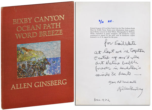 BIXBY CANYON OCEAN PATH WORD BREEZE - INSCRIBED TO EMIL WHITE. Allen Ginsberg, William Webb, poem, photographs.