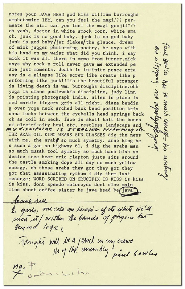 NOTES POUR JAVA HEAD - 1/26 LETTERED COPIES, SIGNED. Patti Smith.