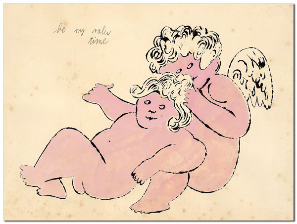 "ORIGINAL BLOTTED LINE CHERUB DRAWING - ""BE MY VALENTIME"" Andy Warhol."