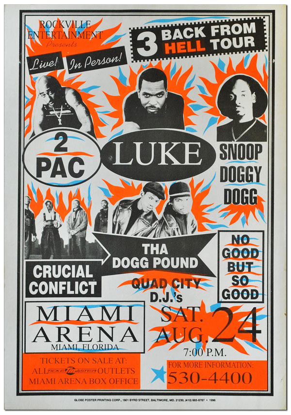 POSTER: ROCKVILLE ENTERTAINMENT PRESENTS - LIVE! IN PERSON! 3 BACK FROM HELL TOUR - 2PAC, LUKE, SNOOP DOGGY DOGG. HIP-HOP, MIAMI.