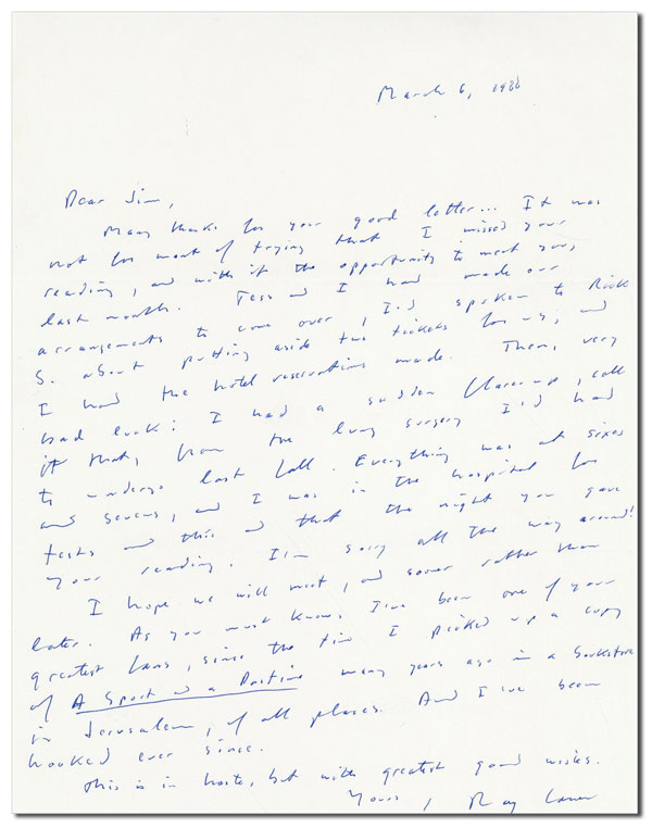 AUTOGRAPH LETTER, SIGNED, TO JAMES SALTER (MARCH 6, 1988). Raymond Carver.