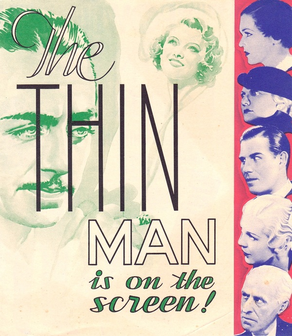 "ORIGINAL HERALD FOR THE 1934 FILM ""THE THIN MAN"" Dashiell Hammett, W. S. Van Dyke, novel, director."