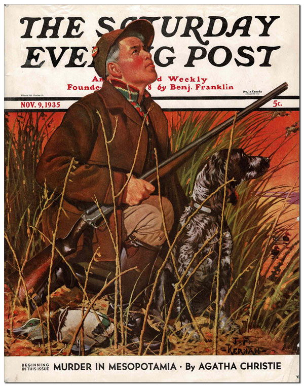MURDER IN MESOPOTAMIA - COMPLETE SIX-PART SERIAL IN THE SATURDAY EVENING POST (NOVEMBER 9 - DECEMBER 14, 1935). Agatha Christie, F. R. Gruger, novel, illustrations.