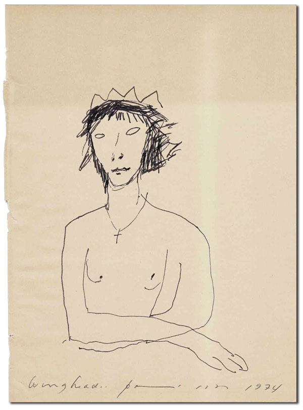 WINGHEAD IN REPOSE - ORIGINAL SELF-PORTRAIT, TOGETHER WITH HOLOGRAPH DOCUMENT & POEM. Patti Smith.