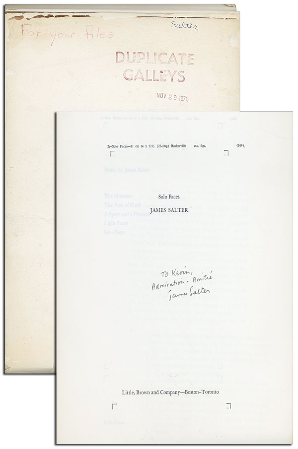 SOLO FACES - PUBLISHER'S LONG GALLEYS, INSCRIBED. James Salter.