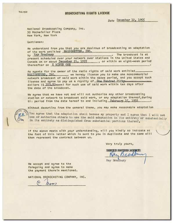 BROADCASTING CONTRACT FOR MARIONETTES, INC. [SIGNED]. Ray Bradbury.