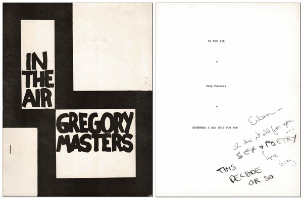 IN THE AIR - INSCRIBED TO EILEEN MYLES. Gregory Masters.