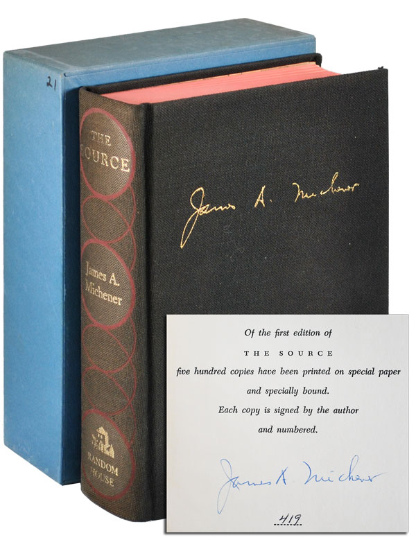THE SOURCE: A NOVEL - LIMITED EDITION, SIGNED. James A. Michener.