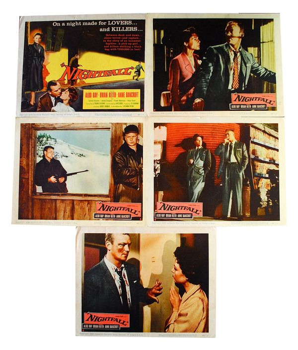 "SET OF 5 ORIGINAL LOBBY CARDS FROM THE 1957 FILM NOIR ""NIGHTFALL"" David Goodis, Jacques Tourneur, novel, director."