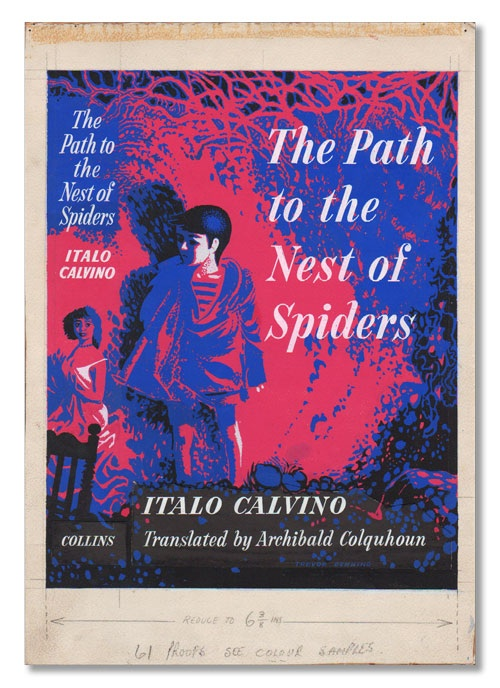 THE PATH TO THE NEST OF SPIDERS - ORIGINAL DUSTJACKET ARTWORK. Italo Calvino, Trevor Denning, novel, artwork.