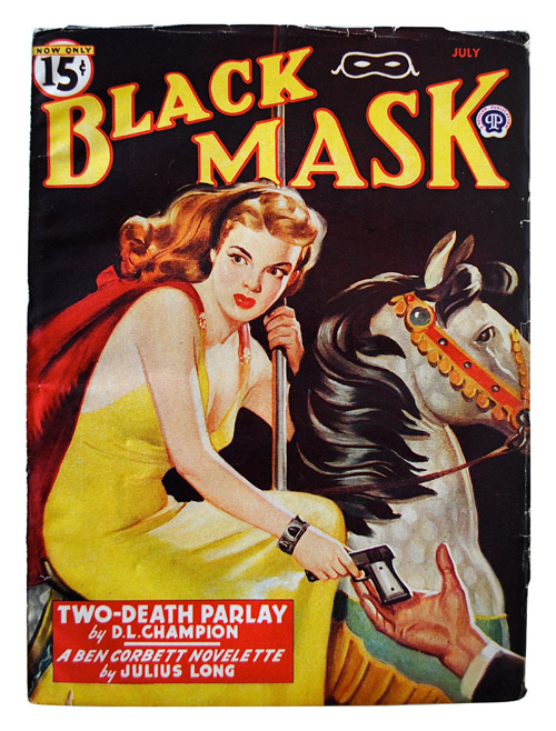 BLACK MASK - VOLUME [VOL.] XXVIII, NUMBER [NO.] 4 - JANUARY 1946. D. L. Champion, Julius Long, Rafael De Soto, stories, cover.