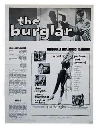 THE BURGLAR - ORIGINAL FILM PRESSBOOK. novel, screenplay, David Goodis, Paul Wendkos, director