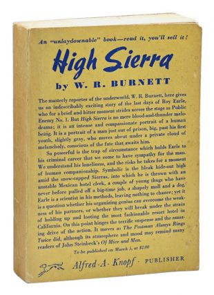 HIGH SIERRA - ADVANCE COPY. W. R. Burnett