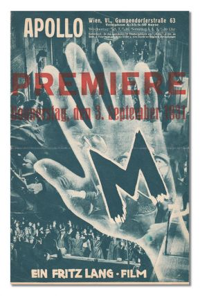 M - ORIGINAL AUSTRIAN PREMIERE PROGRAM. director, screenwriter, Fritz Lang, Thea Von Harbou,...