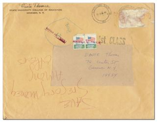 REJECTION LETTER FROM D.A. LEVY TO DANTE THOMAS. d. a. levy