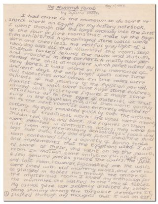 THE MUMMY'S TOMB - AUTOGRAPH MANUSCRIPT. Sylvia Plath